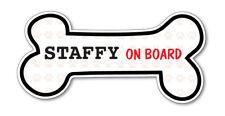 Funny Dog Bone- Staffy (Bull Terrier) on Board Vinyl Car Decal Sticker
