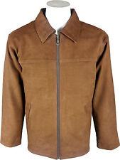UNICORNO da uomo camicia classica Look Cappotto-REAL LEATHER JACKET-Tan Nubuck #D 3