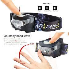 USB Rechargeable Sensor Head Torch Light Waterproof LED Headlamp Headlight UK