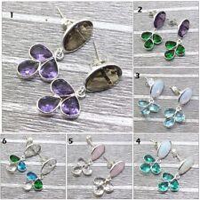 Lavish Opalite Chalcedony Quartz Gemstone Silver Plated Bezel Earring Jewelry