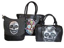 Handtasche mit Totenkopf Schultertasche Damen Tasche Bunt Schwarz Skull Nieten