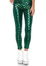 Green Shiny Fish Scale Mermaid Leggings Sea Ocean Fancy Dress Costume 6 8 10 12