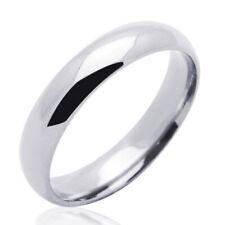 Men's 14K White Gold 4mm Classic Domed Plain Wedding Band Ring / Gift Box