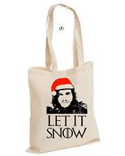 Let it Snow Juego de Tronos inspirado Algodón Bolso Santa Navidad Jon (nieve, Bolsa)