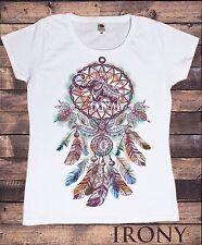 Para Mujeres Camiseta Blanca tribal elefante Ganesh Rojo Indio Americano plumas TS685
