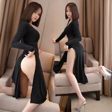 Women Sexy Sheer Dress Lingerie Office Pajamas Transparent High Slit Clubwear