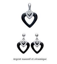 ensemble boucles d'oreille et/ou pendentif coeur ceramique et argent massif neuf