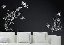 Wandtattoo wandfolie Blumenranke Schmetterlinge  Wallsticke Ranke Blumen wpf59
