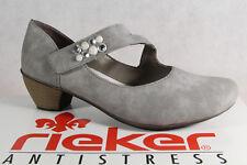 Rieker Mocasines Bailarina Zapatos de Tacón Suave Suela , Gris 41784 Nuevo
