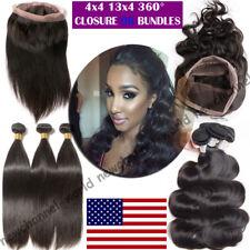 Brazilian Body Wave Virgin Hair Weave 1-3 bundles 360 Frontal Lace Closure B485