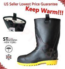 Men's Black Rubber Rain Boots Shoes Warm Lined Insulated Rain Shoes