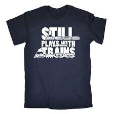 Para Hombre Azul Marino Medio-aún juega con trenes-Divertido Broma sarcástico T-Shirt