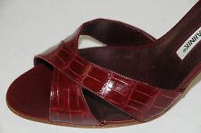New MANOLO BLAHNIKN RUBIN ROTTURA  ALLIGATOR CROCODILE SANDALS Slides SHOES 41