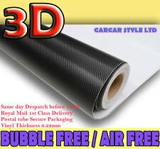 Black 2 Meter x 750mm【AIR/BUBBLE Free】CARBON FIBRE Vehicle Wrap Vinyl Sticker