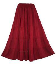 Maroon Women BOHO Gypsy Long Maxi Tiered Skirt 18 20 1X 2X
