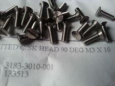 M3 X 10mm SLOTTED COUNTERSUNK HEAD 90 DEG STAINLESS STEEL SCREWS