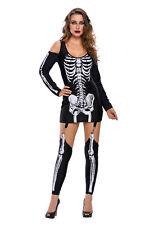 Damen Skelett Kostüm Gebeine Tod Halloween Karneval Fasching