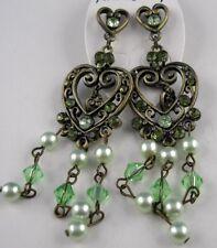 Ohrringe lange Ohrstecker Orientalische Herzen der Liebe mit Perlen verziert