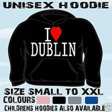 I LOVE HEART DUBLIN UNISEX HOODIE HOODED TOP L@@K