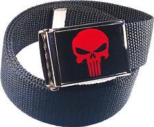 Punisher Red Black Belt Buckle Bottle Opener Adjustable Web Belt