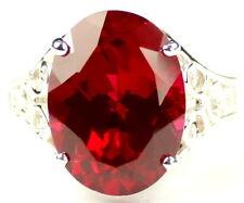 • R049-14-WG, 16x12mm, 12ct Created Ruby, 14k White Gold Ladies Ring -Handmade