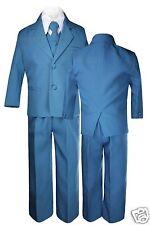 Kid Boy Baby Teen Formal Wedding Green Teal Blue Tuxedo Turquoise Aqua Suit S-20