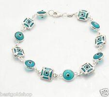3D Transparent Blue Filigree Evil Eye Luck Bracelet Real 925 Sterling Silver