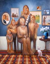 Wookiee Family Portrait Interpretive Chewbacca Star Wars Artwork Giclée on Paper