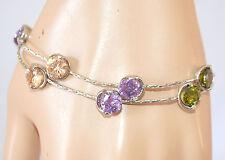 BRACCIALE ARGENTO donna CRISTALLI elegante pulsera bracelet браслет armband 430B