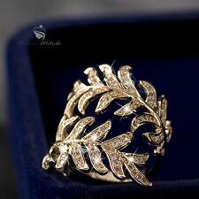 18K Gold GF wedding band dress Simulated Diamond ring US 5 UK AU J 1/2