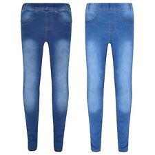 Kids Girls Stretchy Jeans Denim Jeggings Pants Trousers Leggings Age 5-13 Years