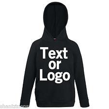 Black Kids Childrens Lightweight Hoodie Personalised Printing Text Logo