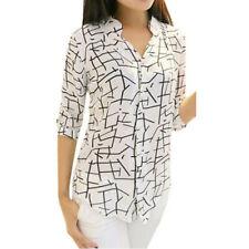 """Fashion Womens Lady""""s Elegant Long-sleeve Print Chiffon Fashion Slim Blouses"""