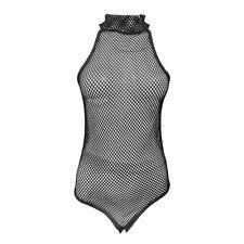 Womens Fishnet High Bodysuit Top Mesh Vest Leotard Ladies Sleeveless Slim Fit
