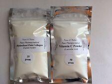 HydrolizedFishCollagen Peptide+Vitamin C Double Pack :Skin Lightener,Anti-aging