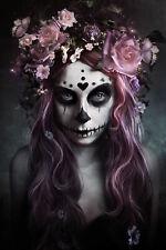 154034 Dod Flower Skull Art Wall Print Poster CA