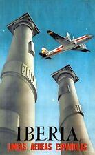 Poster Vintage Iberia español Airlines A3 impresión