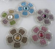 Diy Hotfix iron round flower glass crystal faceted flat back rhinestone applique