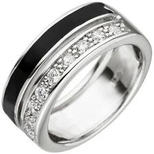 Ring 2-reihig mit Zirkonia weiß & Lackeinlage schwarz 925 Silber Fingerschmuck