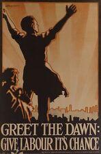 VINTAGE anni 1920 ACCOGLI l'alba del partito laburista ELEZIONI POSTER A3/A2/A1 stampa