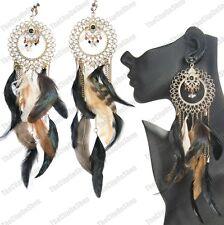 """Pendientes de clip en 10"""" largo gigante de aves silvestres pluma natural plumas de oro antiguo"""