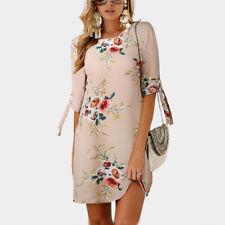 Hot Sale Women Floral Printed Long Tops Blouse Summer Beach Tunic Dress AU