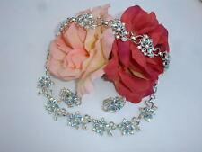Vintage Signed STAR Necklace Bracelet Earrings Blue Aurora B Rhinestone Set