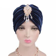 Vintage Women Muslim Hat Velvet Turban Cap Hat Rhinestone Pendant Head Cover Cap