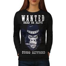 Cowboy Bad Gorilla Women Long Sleeve T-shirt NEW | Wellcoda