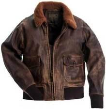 Aviator G-1 Flight Jacket Distressed Brown Real Leather Bomber Biker Jacket