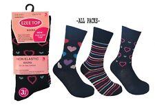 Ladies 6 Pairs No Elastic Diabetic Better Circulation Non-Binding Soft Top Socks