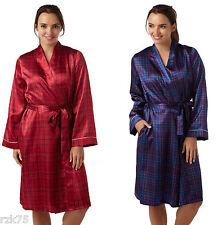 Lujo Mujer Satén Bata Kimono tiras, diseño Bata de cuadros, talla 10-20