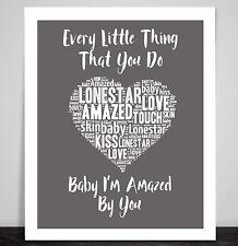 Lonestar Amazed Love Music Lyric Print Heart Art  Wedding Dance Valentine Gift