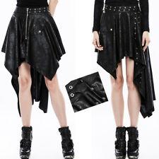 Jupe asymétrique transformable gothique punk lolita cuir sangles plissé PunkRave